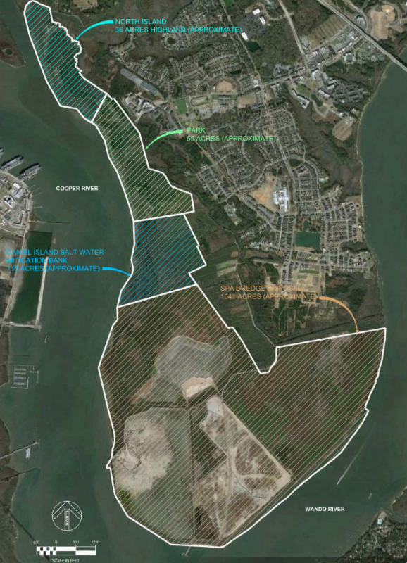 The port's land on Daniel Island will be used for a park, saltwater mitigation bank and a dredge disposal site. (Map/Provided)