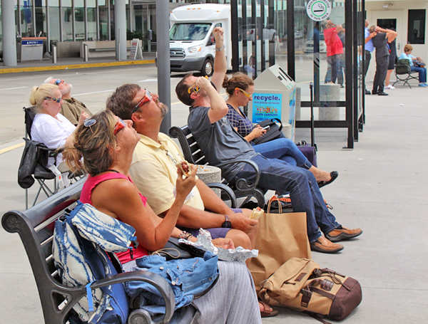 Passengers watched the total solar eclipse on Aug. 21 at Charleston International Airport. (Photo/Provided)