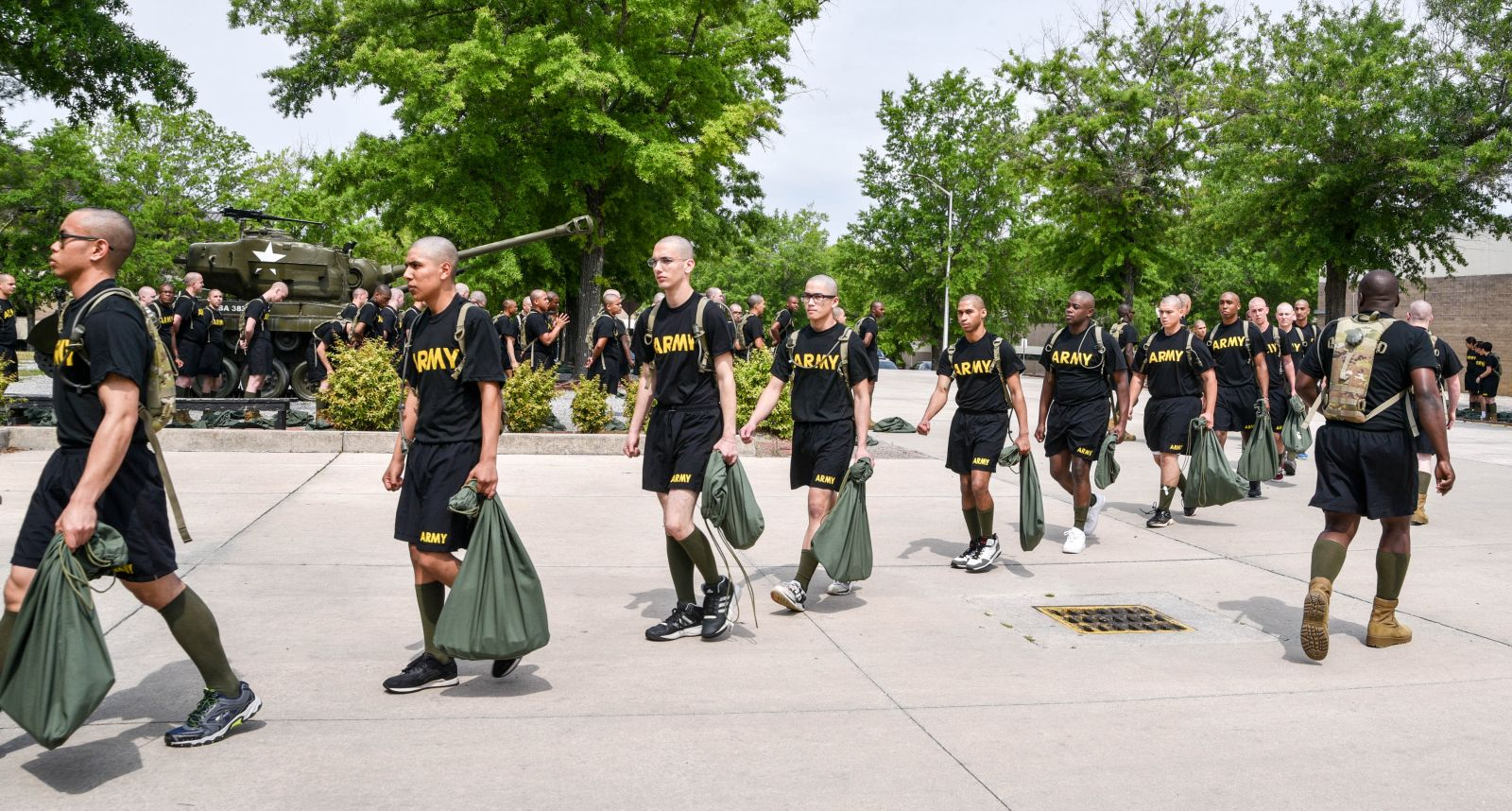A new group of recruits arrive at the Fort Jackson Reception Center to begin the 10-week transition from civilian to soldier. (Photo/Chuck Crumbo)