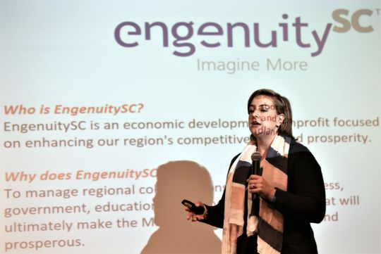 Meghan Hickman, executive director of EngenuitySC, previewed the 3rd annual Midlands Regional Competitiveness Report earlier this month during the USC Economic Outlook Conference. (Photo/Chuck Crumbo)