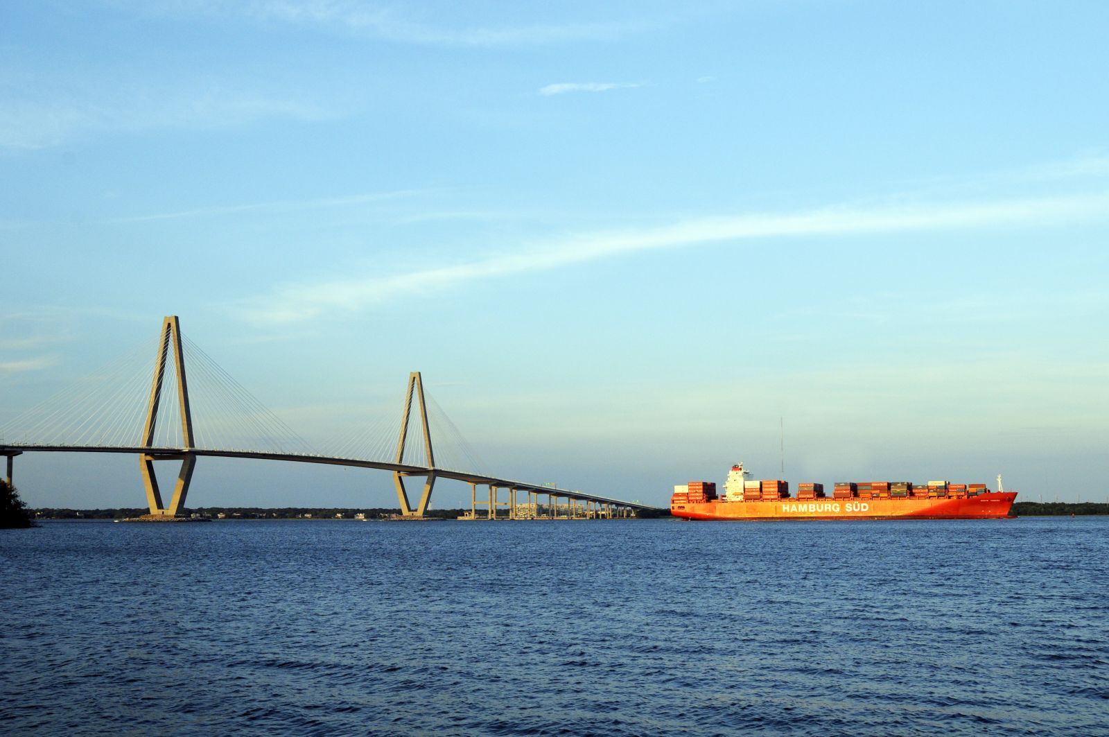 A containership steams along the Cooper River in Charleston Harbor. (Photo/S.C. State Ports Authority)