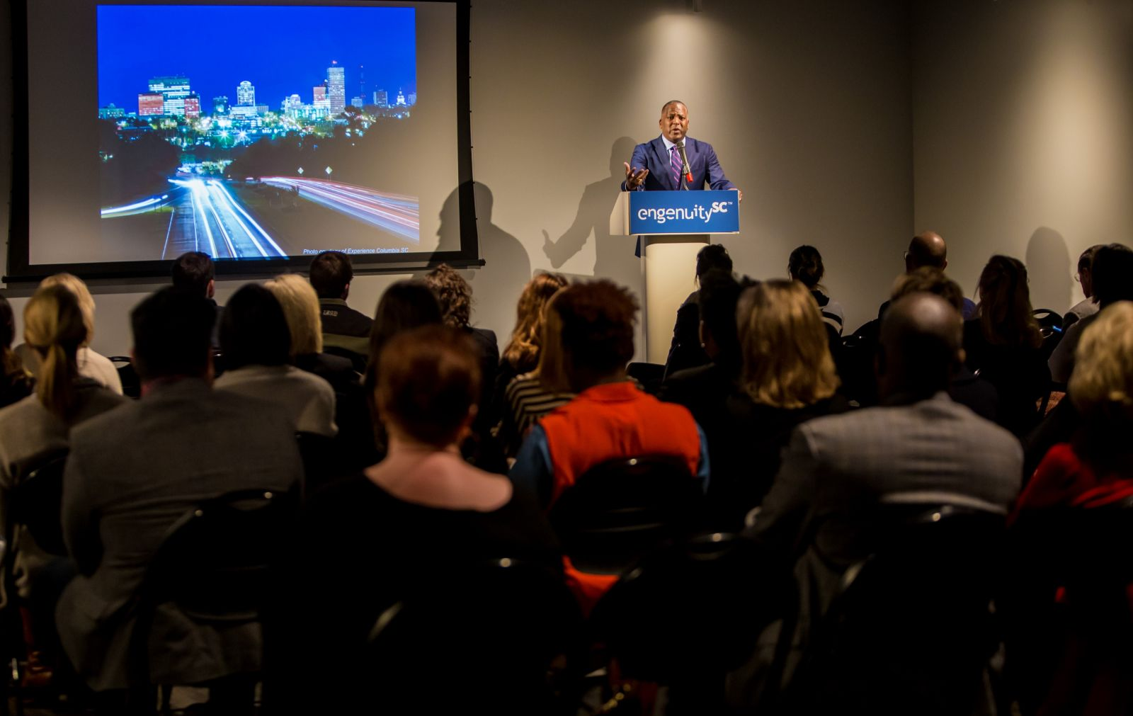 Columbia Mayor Steve Benjamin talks about his vision for the city during Monday's release of the 2018 Midlands Regional Competitiveness Report. (Photo/Jeff Blake Photography)