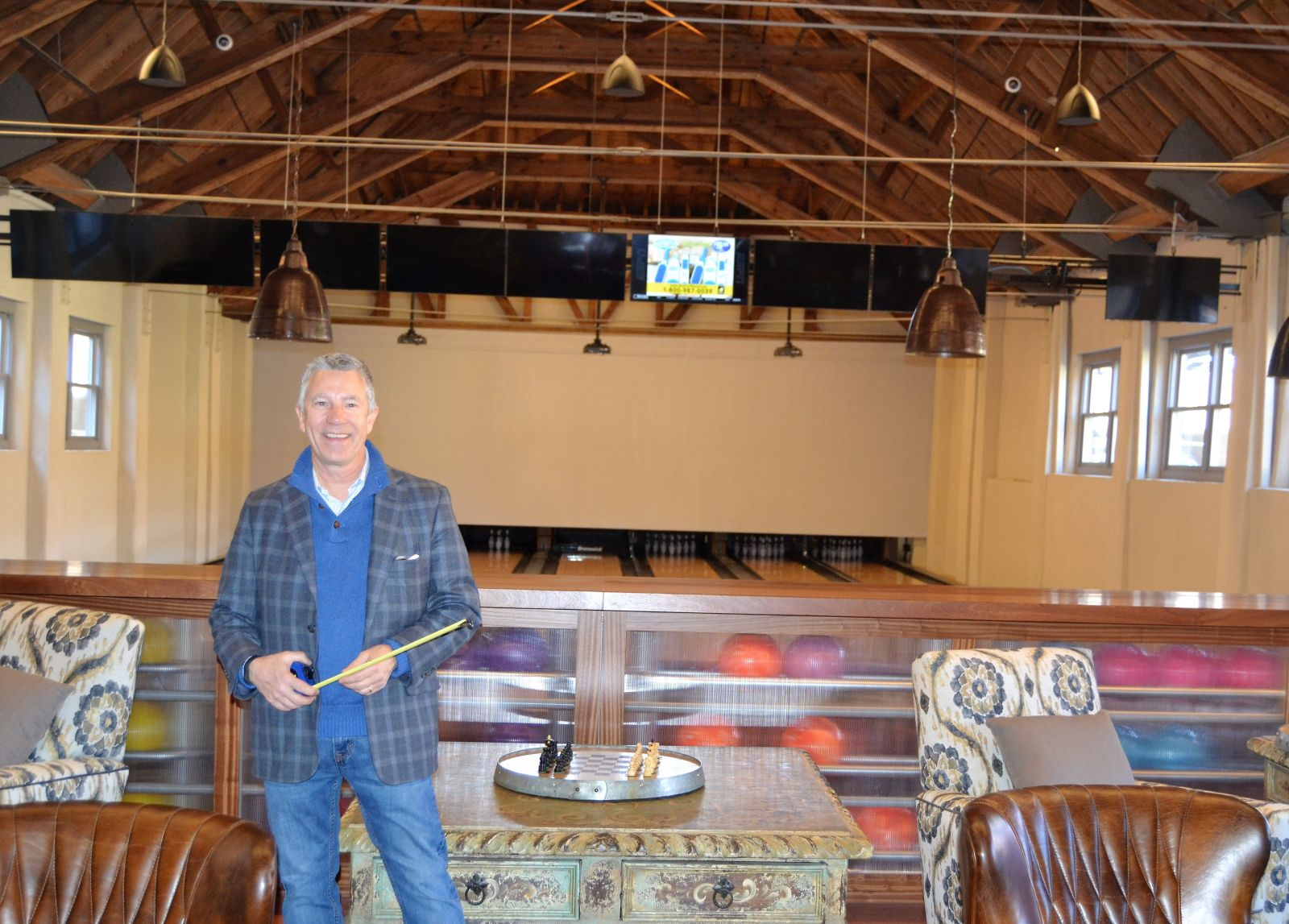 Columbia developer Scott Middleton is eager for The Grand to open the doors to its restaurant, bar and boutique bowling alley. (Photo/Melinda Waldrop)